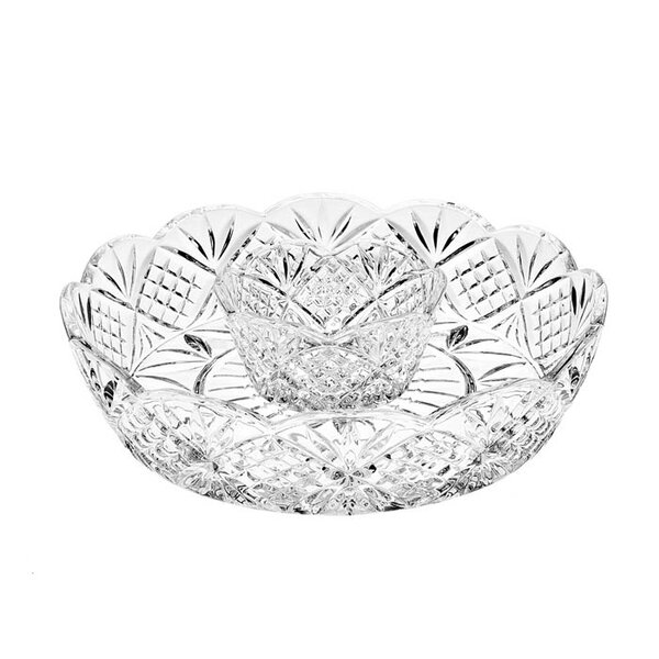 Dublin 2 Piece Crystal Chip and Dip Tray Set by Godinger Silver Art Co
