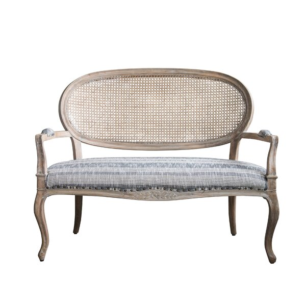 Jeanette Cane Back Mango Wood Striped Fabric Settee by One Allium Way