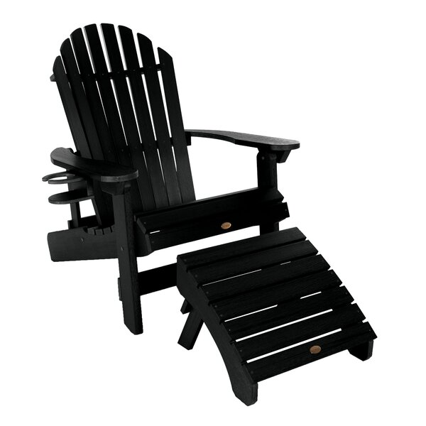 Deerpark Plastic Folding and Reclining Adirondack Chair with Ottoman and Cupholder by Longshore Tides Longshore Tides