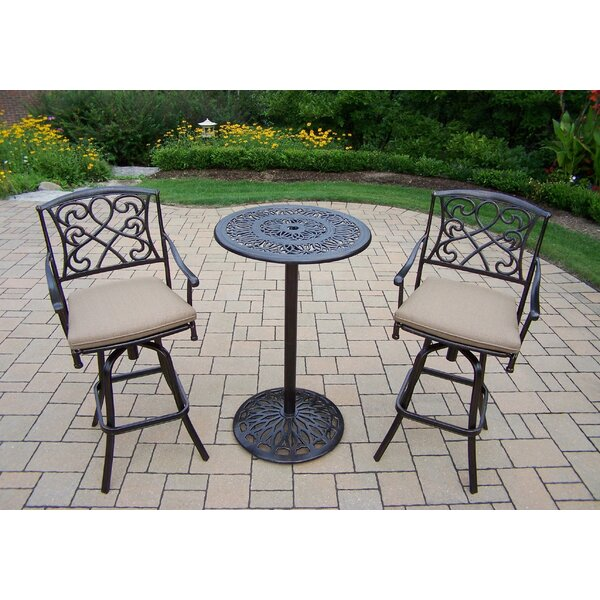 Ericka 3 Piece Bar Height Dining Set with Cushions by Fleur De Lis Living