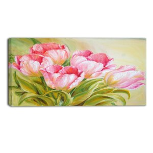 Bunch of Tulips Oil Painting Floral Painting Print on Wrapped Canvas by Design Art