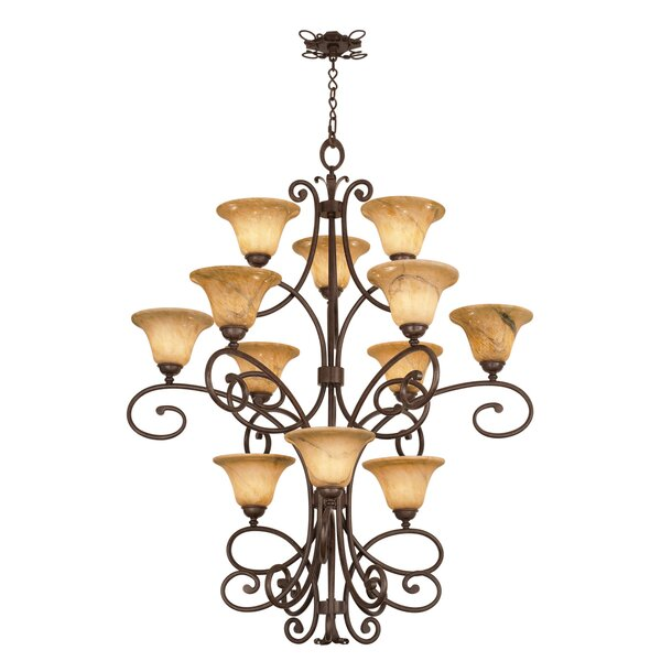 Amelie 12-Light Shaded Tiered Chandelier by Kalco Kalco