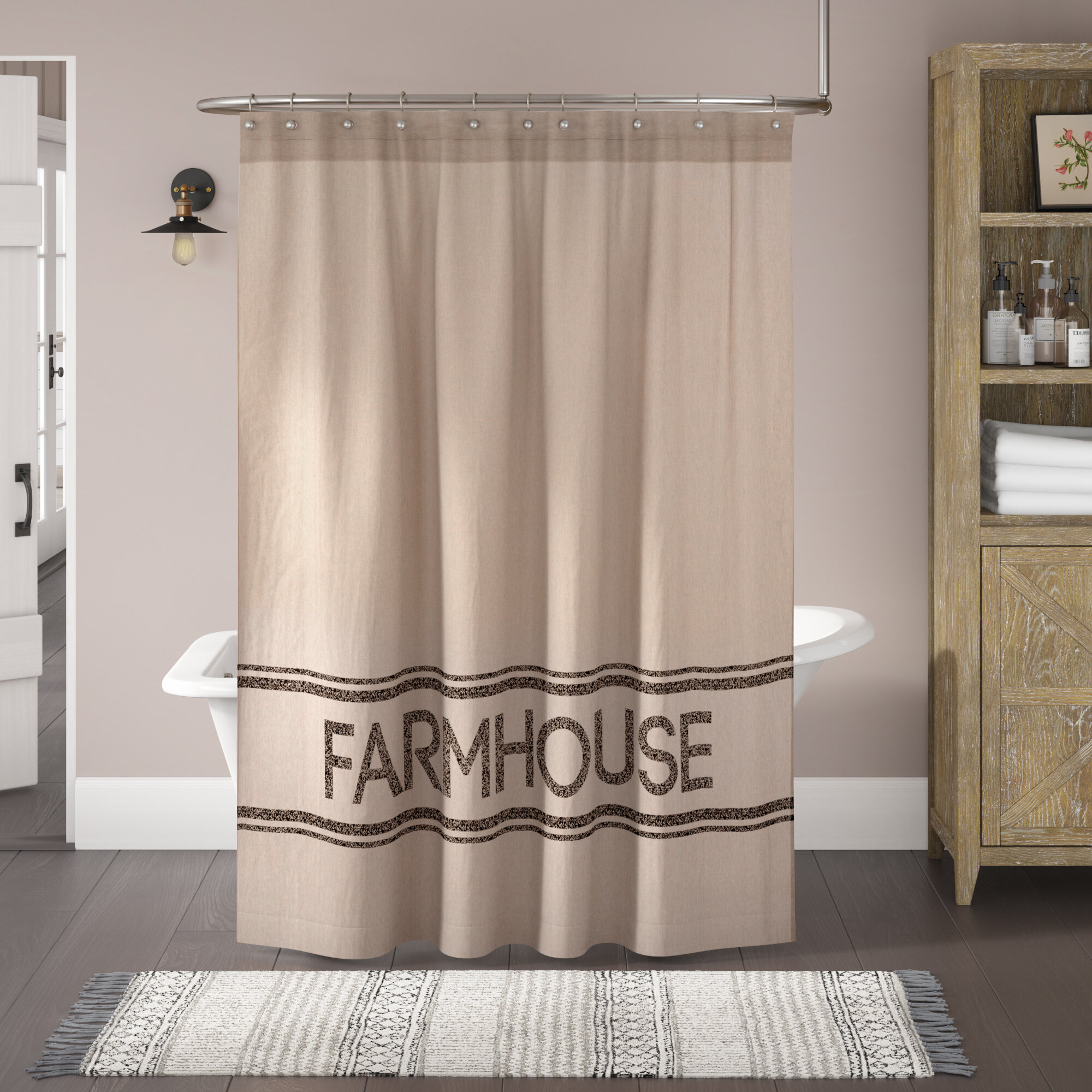 August Grove Farmhouse Cotton Single Shower Curtain Reviews Wayfair