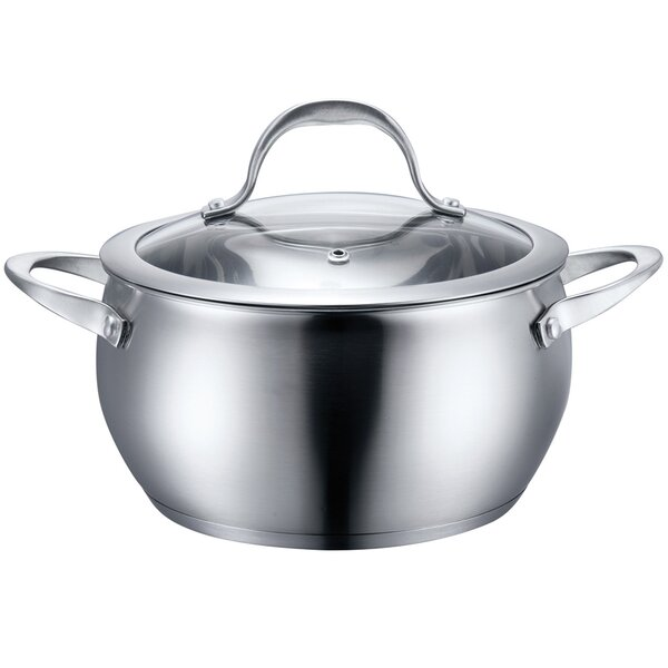 6 qt Round Stainless Steel Casserole with Lid by Diamond Home
