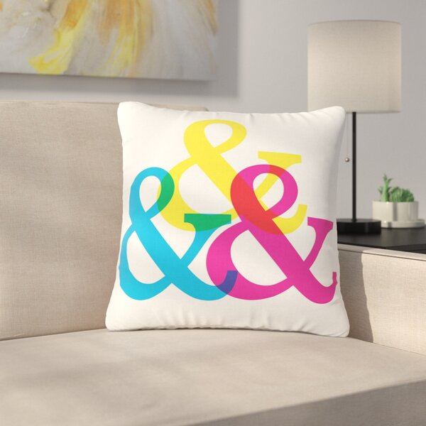 Jackie Rose CYMK Ampersands Colorful Outdoor Throw Pillow by East Urban Home