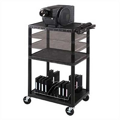 Multi-Height Low Price Table AV Cart with Cabinet/Electric/Big Wheels by Luxor