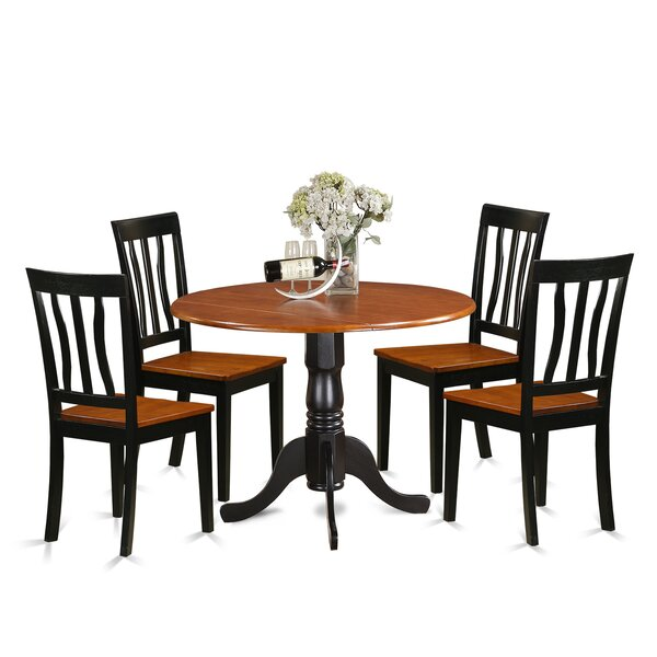 Slavens 5 Piece Drop Leaf Solid Wood Dining Set by Charlton Home Charlton Home