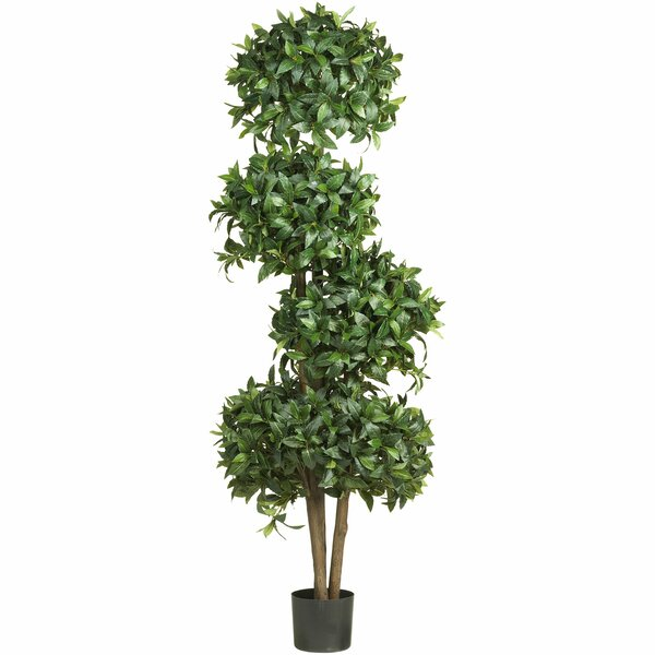 Sweet Bay Round Topiary in Pot by Nearly Natural