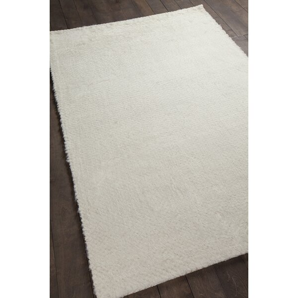 Alldredge Textured Contemporary Shag Ivory Area Rug by Foundry Select
