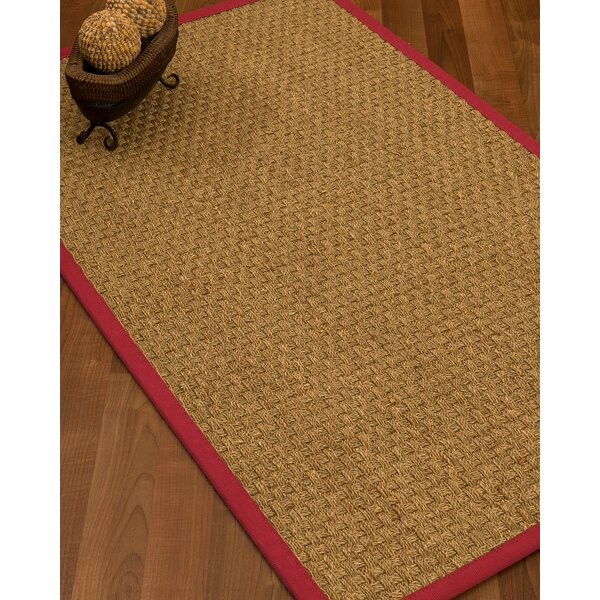 Antiqua Border Hand-Woven Beige/Red Area Rug by Longshore Tides
