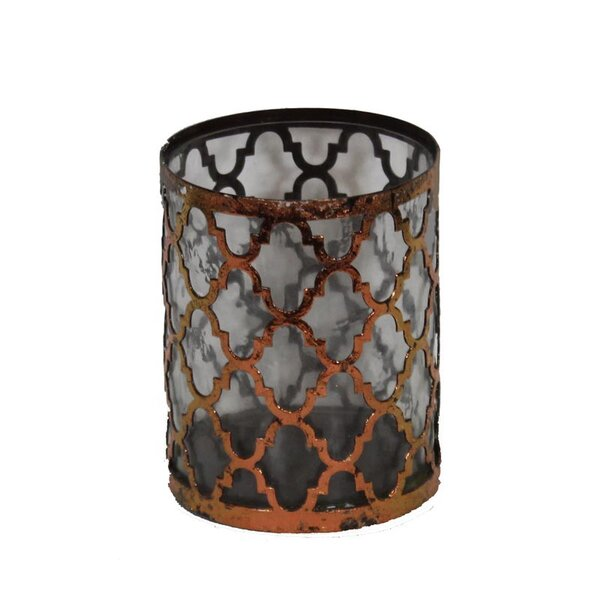 Metal and Glass Lantern by ESSENTIAL DÉCOR & BEYOND, INC