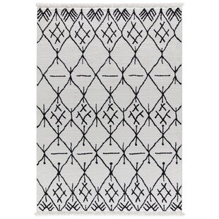 Best Choices Hervey White/Charcoal Area Rug By Bloomsbury Market