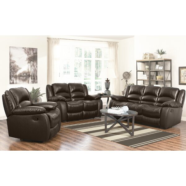 Iraheta 3 Piece Leather Reclining Living Room Set by Red Barrel Studio