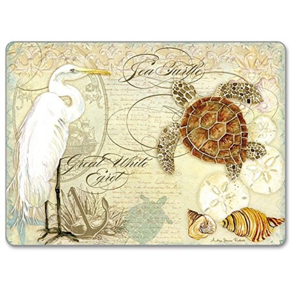 Coastal Waterways Sea Turtle and Egret Hardboard Placemat (Set of 2) by CounterArt