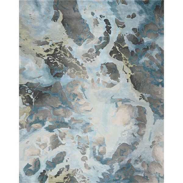 Makin Abstract Hand-Tufted Gray/Slate Area Rug by Ivy Bronx