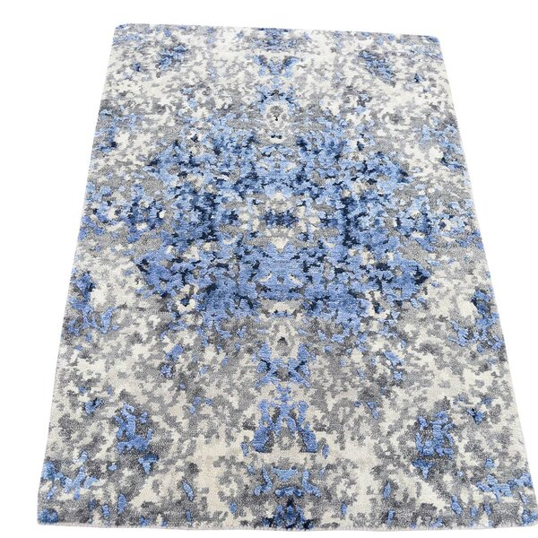 One-of-a-Kind Eddyville Hi-Lo Hand-Knotted Blue/Gray Area Rug by 17 Stories