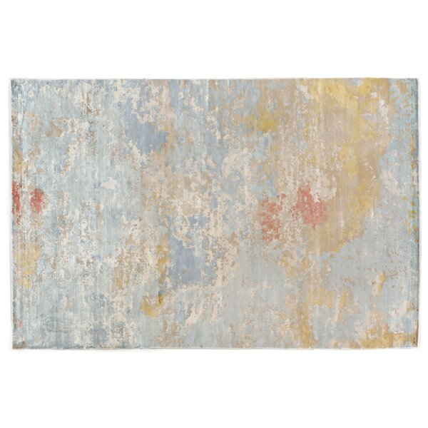 Carrera Hand Woven Silk Sky Blue/Gold Area Rug by Exquisite Rugs