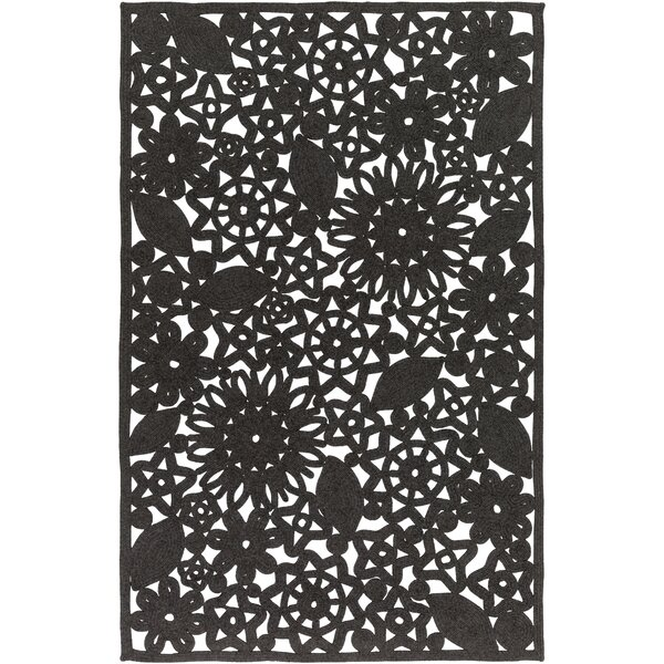 Camille Hand Woven Black Indoor/Outdoor Area Rug by Ophelia & Co.