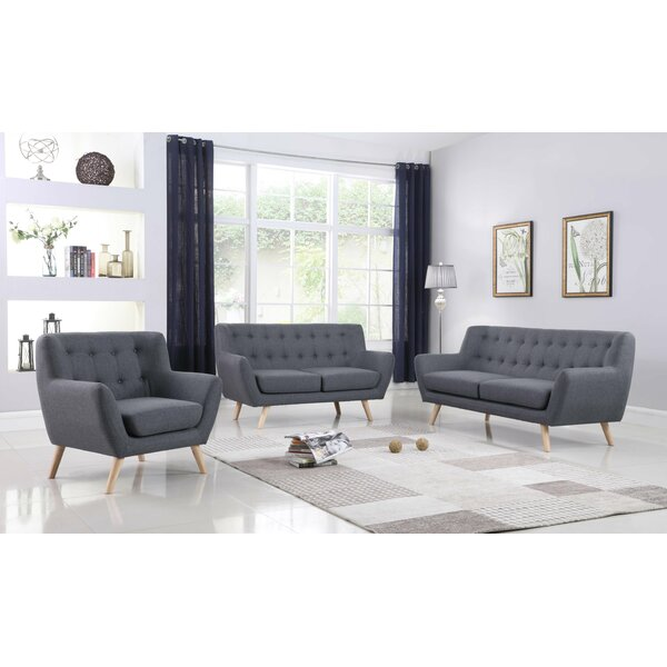 Zaragoza Mid-Century 3 Piece Living Room Set by George Oliver