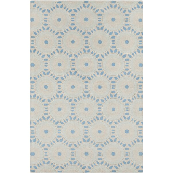 Baker Hand Tufted Wool Cream/Blue Area Rug by Darby Home Co