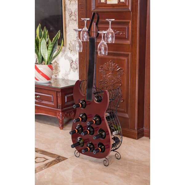 Verna Guitar 9 Bottle Floor Wine Bottle and Glass Rack by Red Barrel Studio Red Barrel Studio