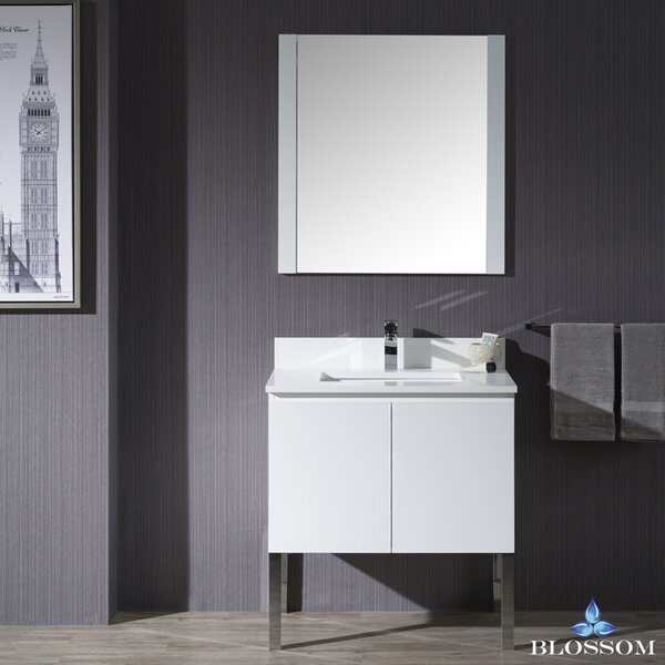 Maly Modern 30 Single Bathroom Vanity Set with Mirror by Orren Ellis
