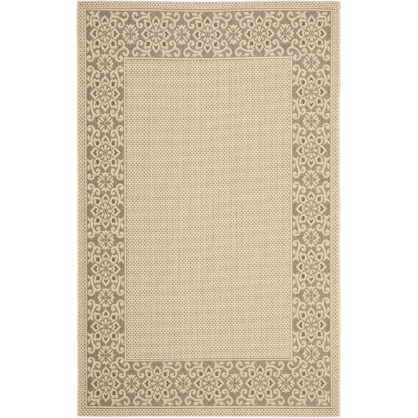 Amaryllis Cream/Light Chocolate Floral Indoor/Outdoor Rug by Bay Isle Home