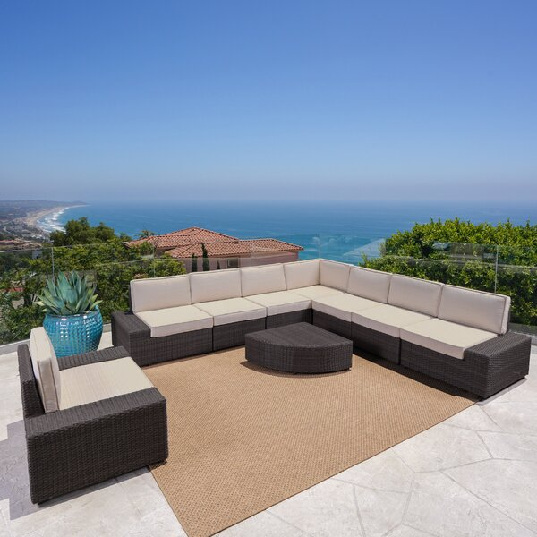 Mountview 9 Piece Rattan Sectional Seating Group with Cushions by Wade Logan