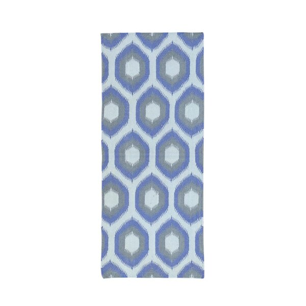 One-of-a-Kind Fleener Flat Weave Reversible Hand-Woven Wool Blue/Gray/Ivory Area Rug by Wrought Studio
