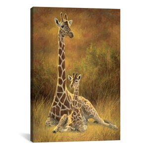Decorative Mother and Son (Giraffe) by Lucie Bilodeau Painting Print on Canvas by iCanvas