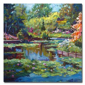 'Serenity Pond' by David Lloyd Glover Framed Painting Print on Wrapped Canvas by Trademark Fine Art