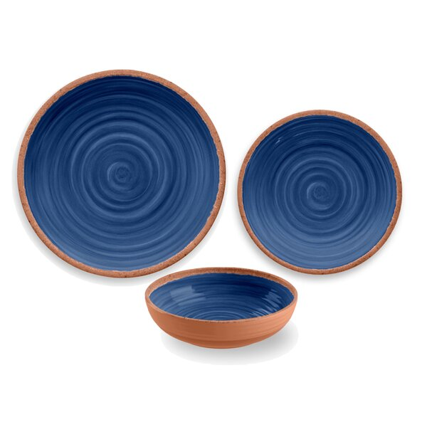 Rustic Swirl 12 Piece Melamine Dinnerware Set, Service for 4 by TarHong
