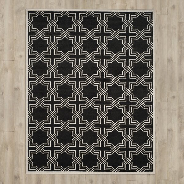 McArthur Black/Ivory Indoor/Outdoor Area Rug by Beachcrest Home
