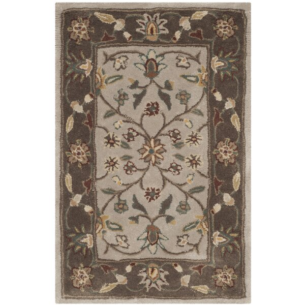Regner Hand-Hooked Ivory/Taupe Area Rug by Charlton Home