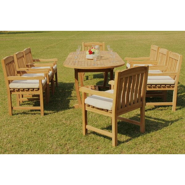 Dunnes 9 Piece Teak Dining Set by Rosecliff Heights