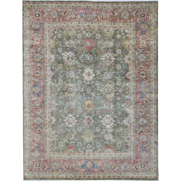 Oriental Hand-Knotted Wool Green/Red Area Rug