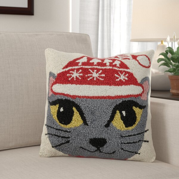 Fort Hamilton Christmas Cat Hook Wool Throw Pillow by The Holiday Aisle