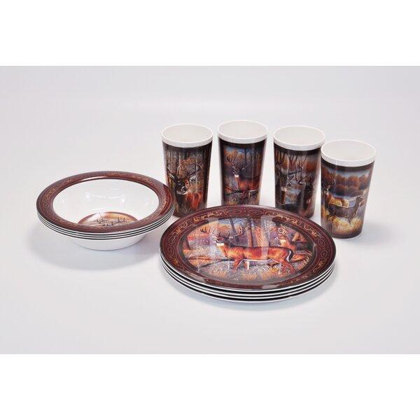Deer Melamine 12 Piece Dinnerware Set, Service for 4 by MotorHead Products