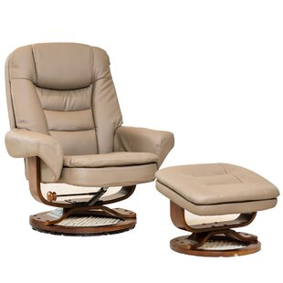 Stone Color Genuine Leather Recliner Chair