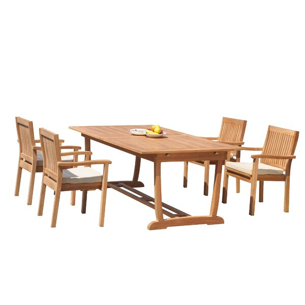 Maskell 5 Piece Teak Dining Set by Rosecliff Heights