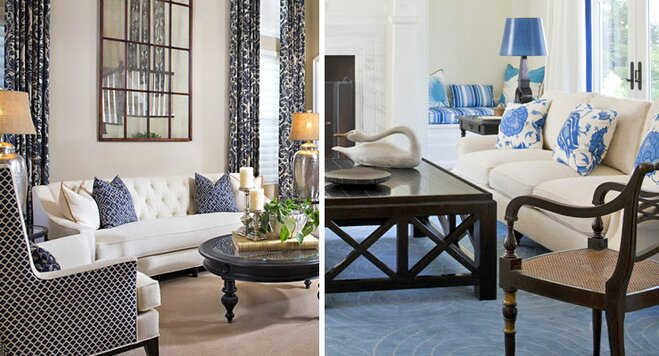 Blue Living Room. How To Decorate A Blue And White Living Room N