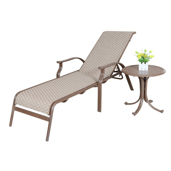 Island Breeze Sling Chaise Lounge & End Table by Panama Jack Outdoor