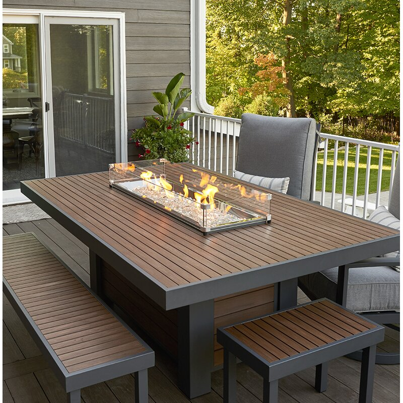 The Outdoor GreatRoom Company Kenwood Linear Dining Height Aluminum - Patio fire pit table natural gas