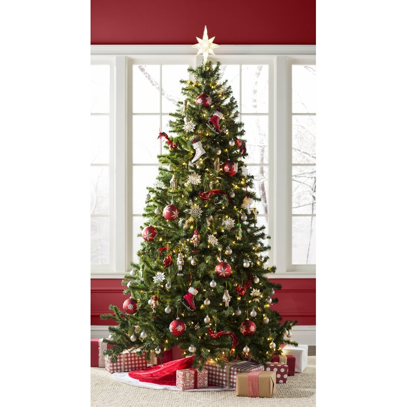 Green Spruce Artificial Christmas Tree with Clear/White Lights - Beachcrest Home Green Spruce Artificial Christmas Tree With Clear