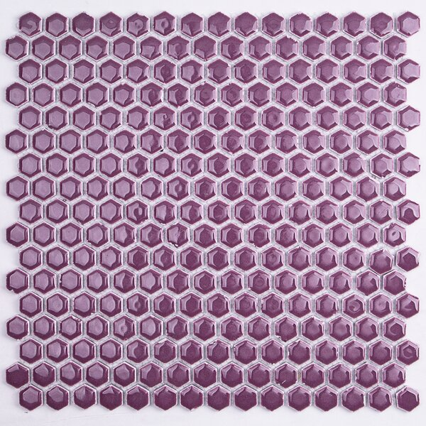 Bliss 0.6 x 0.6 Ceramic Mosaic Tile in Plum by Splashback Tile