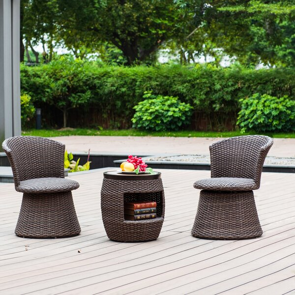 Heaney 3 Piece Rattan Seating Group by World Menagerie