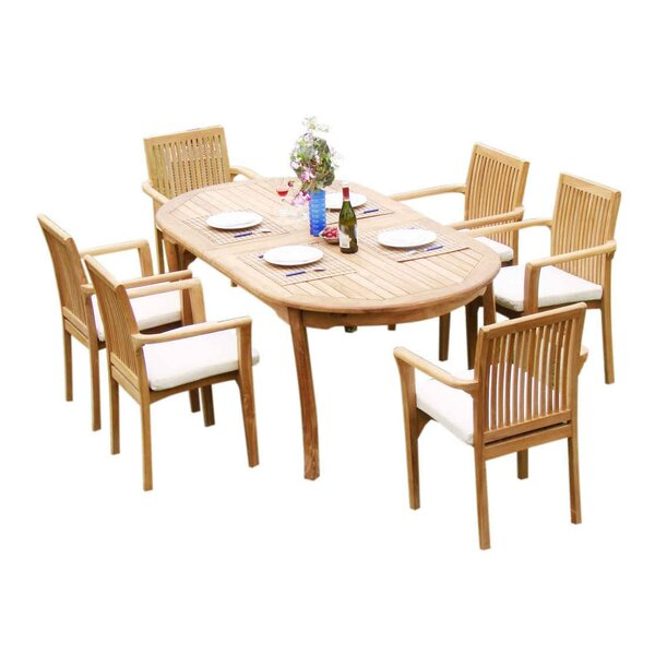 Massie 7 Piece Teak Dining Set by Rosecliff Heights