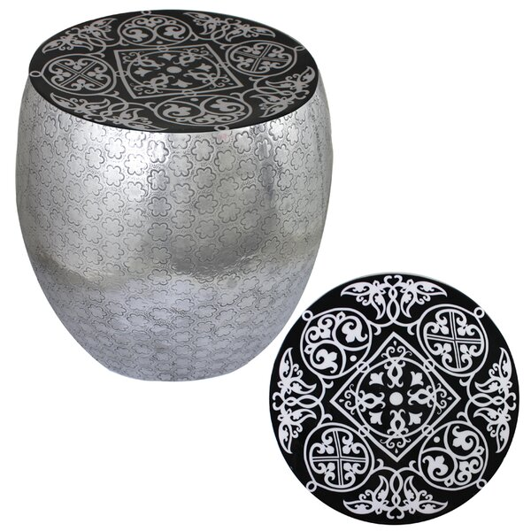 Mickel Damask Art Metal Accent Stool by Bloomsbury Market