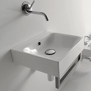 Cento Ceramic 16 Wall Mount Bathroom Sink with Overflow by WS Bath Collections