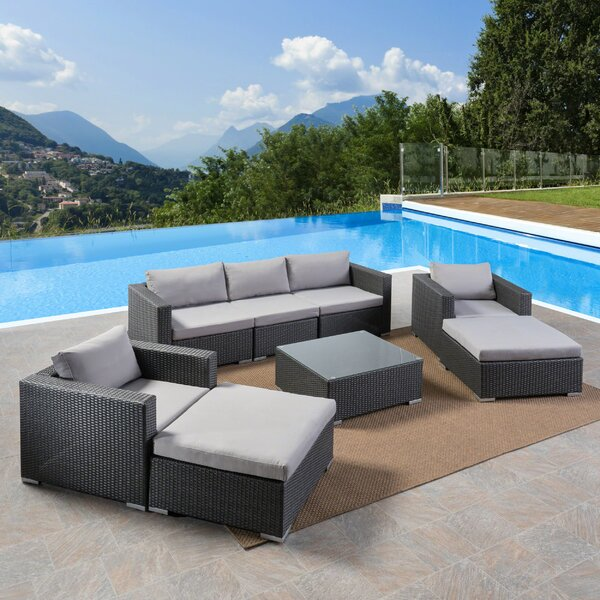 Cabral 8 Piece Rattan Sectional Seating Group with Cushions by Sol 72 Outdoor